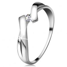 Inel din aur alb 585 cu diamant strălucitor, brațe despicate intersectate
