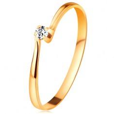 Inel din aur galben 14K - diamant în montură, brațe înguste
