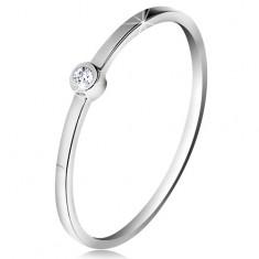 Inel din aur alb 14K - diamant transparent strălucitor în montură lucioasă, brațe subțiri