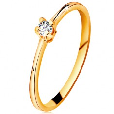 Inel din aur 585 - diamant transparent strălucitor în montură în patru puncte, brațe înguste