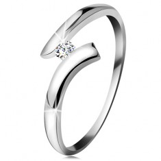 Inel din aur alb 14K - diamant transparent strălucitor, brațe lucioase curbate