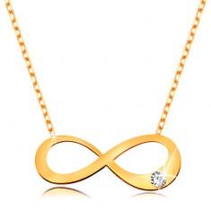 Colier din aur 14K - simbolul infinitului plat cu diamant transparent, lanț strălucitor