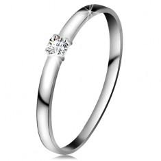 Inel din aur alb 14K - diamant transparent, brațe lucioase