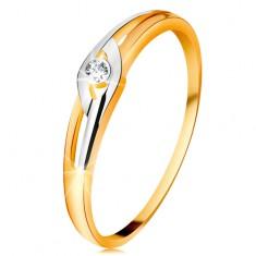 Inel din aur 14K, brațe bicolore cu decupaje, diamant transparent