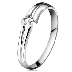 Inel din aur alb 585 cu diamant transparent strălucitor, brațe despicate