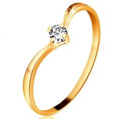 Inel din aur galben 585 - brațe lucioase curbate, diamant transparent strălucitor