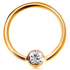 Piercing din aur galben 9K - cerc lucios cu o bilă cu zirconiu transparent, 14 mm