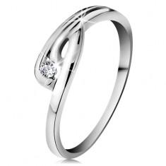 Inel din aur alb 14K - diamant transparent, brațe ondulate și crestate