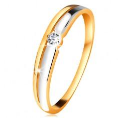 Inel cu diamant din aur 14K - diamant transparent în montură rotundă, linii bicolore