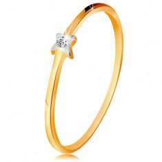 Inel din aur alb și galben 585 - stea cu diamant transparent, brațe subțiri