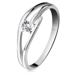 Inel din aur alb 585 cu diamant strălucitor, brațe despicate și ondulate