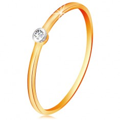 Inel din aur 585 în două culori - diamant transparent în montură rotundă, brațe înguste
