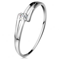 Inel din aur alb 14K - brațe lucioase despicate, diamant transparent