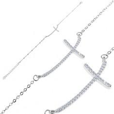 Brățară din argint 925 - cruce din zirconii strălucitoare pe un lanț din zale ovale
