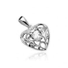 Pandantiv din argint 925 - inimă cu zirconiu în formă de inimă și ornamente
