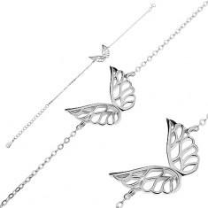 Brățară din argint 925 - aripi de înger decupate, lanț din zale ovele