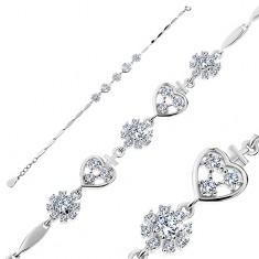 Brățară din argint 925, inimi și flori cu zirconii, elemente înguste lucioase