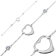 Brățară ajustabilă din argint 925, contur lucios de inimă, două zirconii rotunde