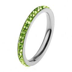 Inel argintiu din oțel chirurgical, zirconii strălucitoare de culoare verde-deschis