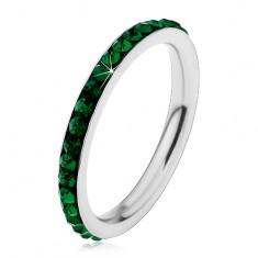 Inel argintiu din oțel chirurgical, zirconii strălucitoare de culoare verde-închis