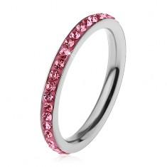 Inel argintiu din oțel chirurgical, zirconii strălucitoare de culoare roz