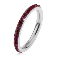 Inel argintiu din oțel chirurgical, zirconii strălucitoare de culoare violet-închis