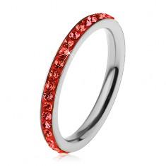 Inel argintiu din oțel chirurgical, zirconii strălucitoare de culoare roșu-deschis