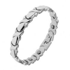 """Brățară magnetică din oțel, placată cu rodiu, de culoare argintie, zale în formă de """"X"""" și de picături"""