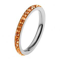 Inel argintiu din oțel chirurgical, zirconii strălucitoare de culoare portocalie