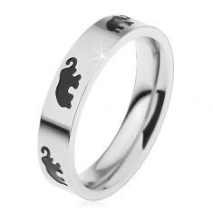 Inel pentru copii din oțel de culoare argintie, elefanți cu smalț negru, luciu intens