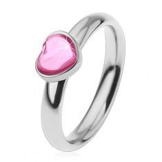 Inel din oțel pentru copii, inimă strălucitoare din zirconiu de culoare roz
