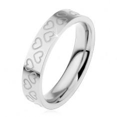 Inel argintiu pentru copii, din oțel 316L, contururi de inimi mici