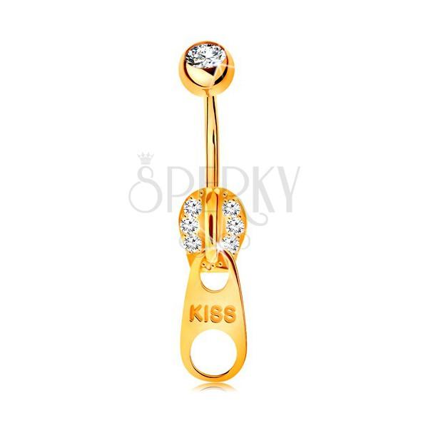piercing pentru buric din aur galben 14k fermoar decorat cu