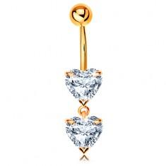 Piercing pentru buric din aur 585 - două inimi strălucitoare din zirconii transparente