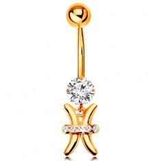 Piercing pentru buric din aur galben 14K - zirconiu transparent, semn zodiacal - PEȘTI