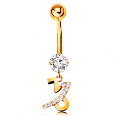Piercing pentru buric din aur 14K - zirconiu transparent, semn zodiacal strălucitor - CAPRICORN
