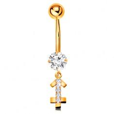 Piercing pentru buric din aur 14K - zirconiu transparent, semn zodiacal strălucitor - SĂGETĂTOR