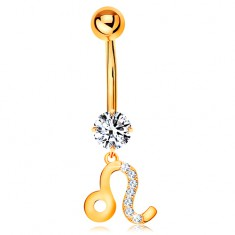 Piercing pentru buric din aur galben 14K - zirconiu transparent, semn zodiacal - LEU