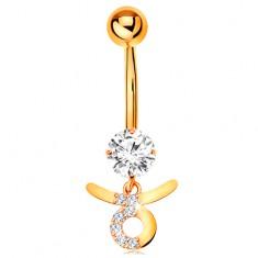 Piercing pentru buric din aur galben 14K - zirconiu transparent, semn zodiacal - TAUR