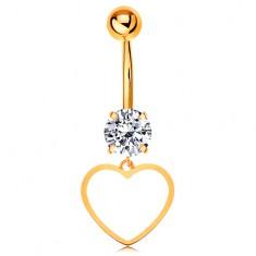 Piercing pentru buric din aur 14K - zirconiu transparent, contur subțire de inimă simetrică