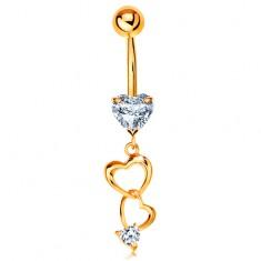 Piercing pentru buric din aur 585 - contururi de inimi și inimi din zirconii