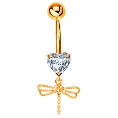 Piercing pentru buric din aur 585 - inimă transparentă, pandantiv libelulă cu coadă mobilă