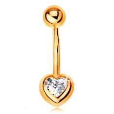 """Piercing pentru buric din aur galben 14K - """"banană"""" cu o bilă și un zirconiu transparent în formă de inimă"""