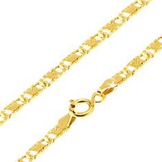 Lanț din aur -zale plate ovale canelate, plasă, 450 mm