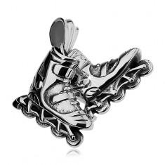 Pandantiv argintiu din oțel, patine cu rotile, patină neagră