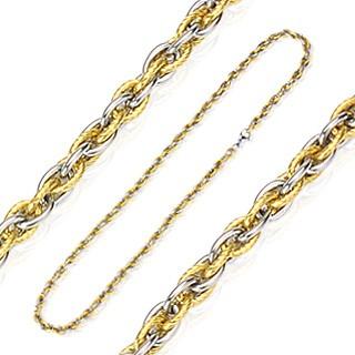 Bijuterii eshop - Lanț din oțel inoxidabil combinație de auriu-argintiu A3.1
