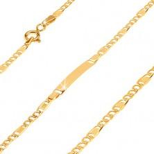 Brățară din aur cu placă - trei ochiuri late și o za cu plasă, 185 mm