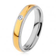 Inel bicolor din oțel 316L, bandă proeminentă cu zirconiu, crestături, 4 mm
