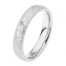 Inel argintiu din oțel, cu suprafață sablată, zirconiu transparent, 4 mm