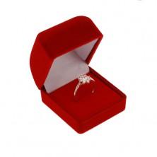 Cutiuță de catifea pentru inel sau cercei, culoare roșie, capac teșit